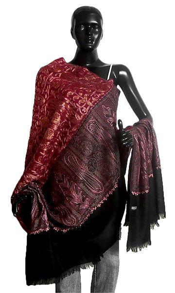 Ari Stitched Paisley Design on Maroon Kani Shawl