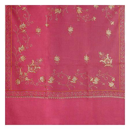 Embroidered Pink Kashmiri Woolen Shawl for Ladies