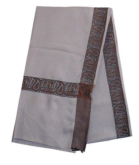 Grey Woolen Kashmiri Shawl with Woven Border for Men