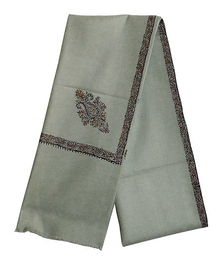 Pista Green Woolen Mens Kashmiri Shawl with Embroidered Border