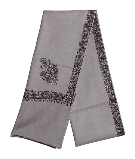 Grey Woolen Gents Shawl with Embroidered Border