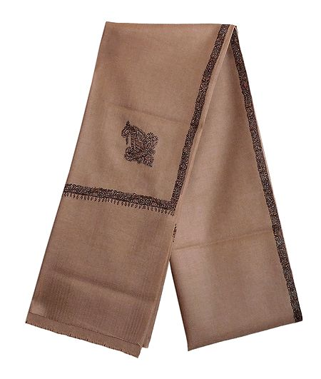 Brown Woolen Gents Shawl with Embroidered Border