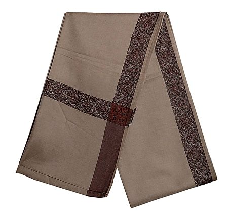 Khaki Brown Woolen Mens Shawl with Woven Border