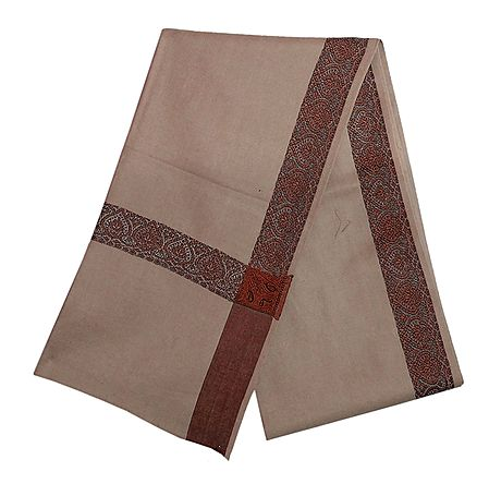 Camel Brown Woolen Mens Shawl with Woven Border