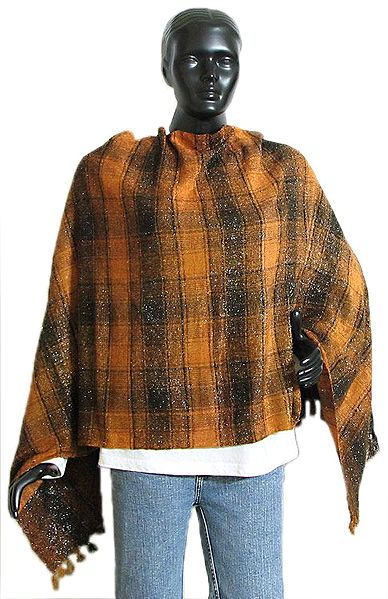Dark Yellow and Black Check Glittered Light Woolen Stole