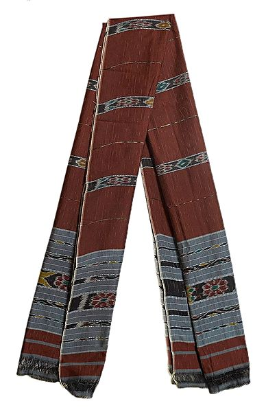 Dark Brown Cotton Stole with Ikkat Design Pallu
