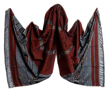 Brown Cotton Silk Stole with Ikkat Design Pallu