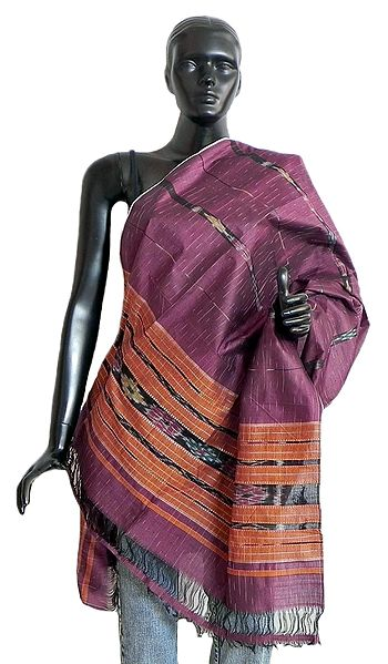 Mauve with Saffron Cotton Silk Stole with All-Over Ikkat Design