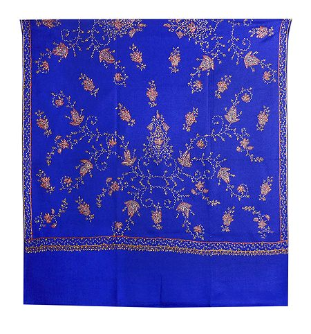 Embroidered Blue Kashmiri Woolen Shawl