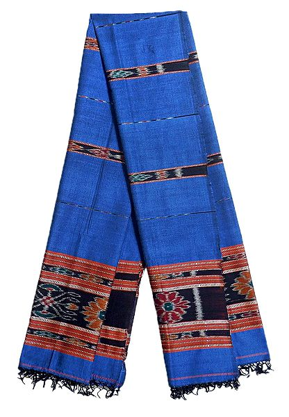 Dark Blue Cotton Stolel with Ikkat Design Pallu