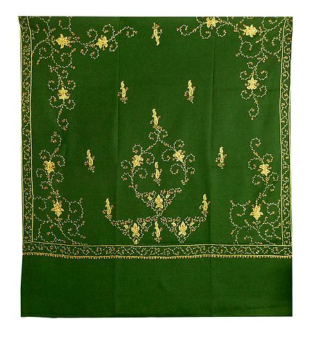 Embroidered Olive Green Kashmiri Woolen Shawl for Ladies