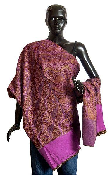 Magenta with Brown Reversible Woolen Kani Shawl