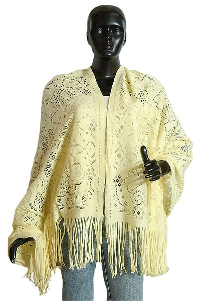 Fine Soft Light Woolen Yellow Stole