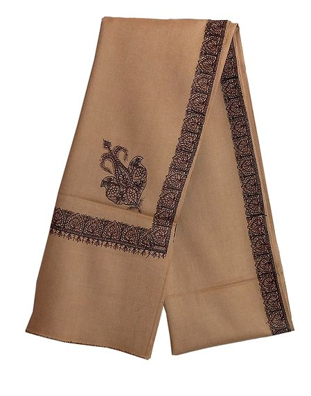 Brown Woolen Mens Kashmiri Shawl with Embroidered Border