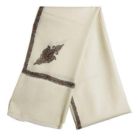 Ivory Woolen Mens Shawl with Embroidered Border