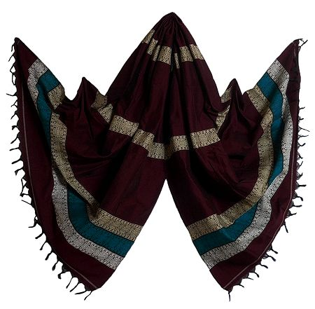 Maroon Cotton Stole with Weaved Bomkai Design
