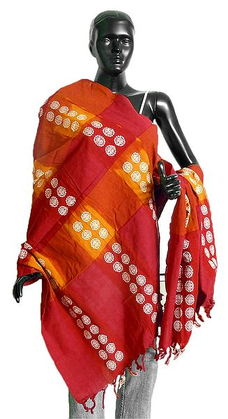 Red with Yellow Orissa Bomkai Cotton Stole with All-Over White Weaved Design