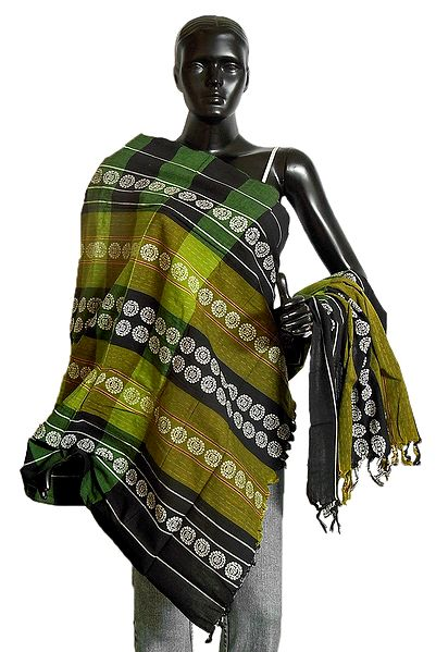 Green with Black Orissa Bomkai Cotton Stole with All-Over White Weaved Design