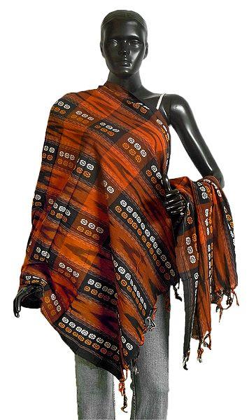 Saffron and Black Orissa Bomkai Cotton Stole with All-Over Weaved Design