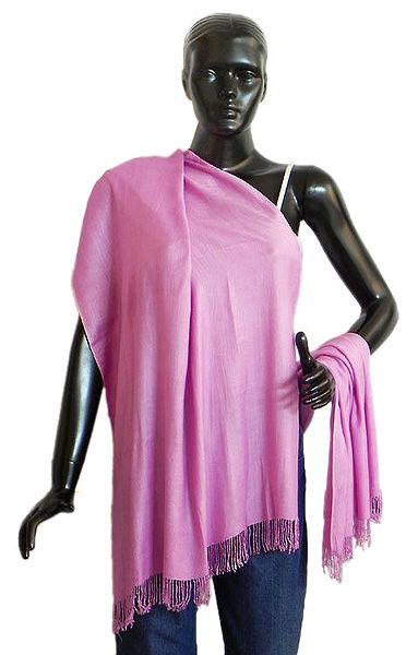 Pink Light Woolen Stole with Beaded Fringe