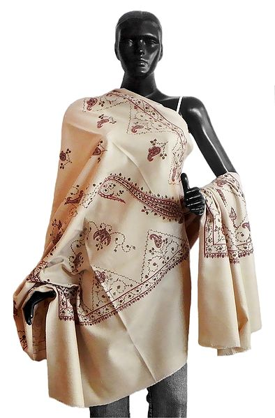Printed Paisley Design on Ivory Color Light Woolen Shawl
