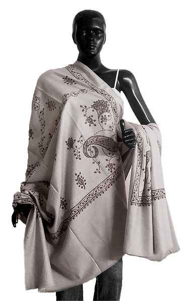 Printed Design on Light Grey Woolen Shawl