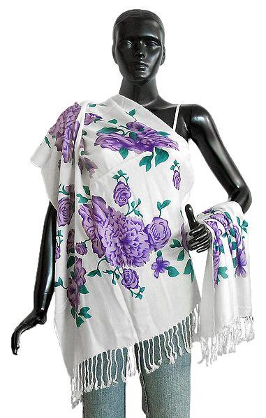 Purple Floral Print on White Light Woolen Stole