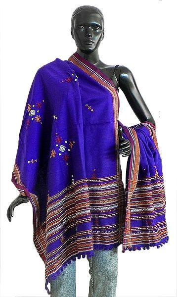 Purple Ladies Kutchi Shawl with Mirrorwork