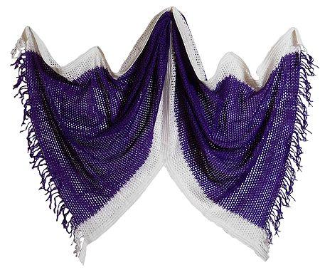 Purple Woolen Stole with White Border