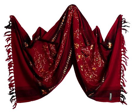 Embroidered Light Woolen Red Stole