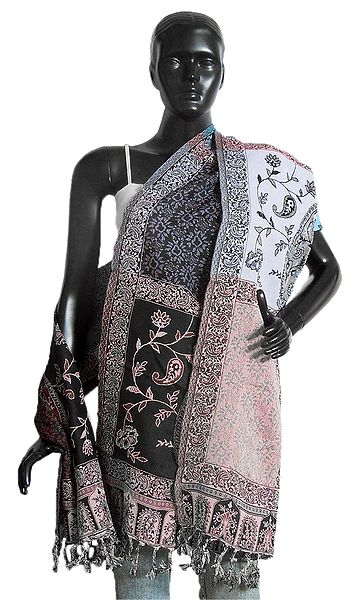 Weaved Paisley Design on Black with Maroon Reversible Light Woolen Stole