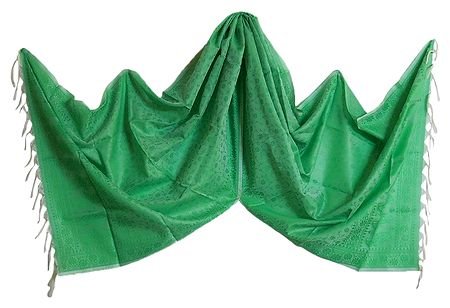 Light Green Art Silk Tanchoi Stole