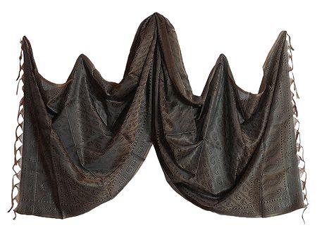 Dark Brown Art Silk Tanchoi Stole