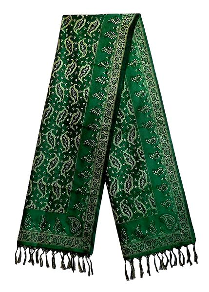 Dark Green Banarasi Tanchoi Stole with Leaf Design