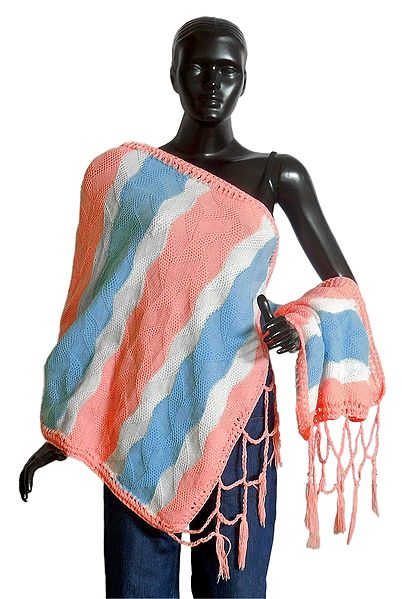 White, Blue and Peach Woolen Stole