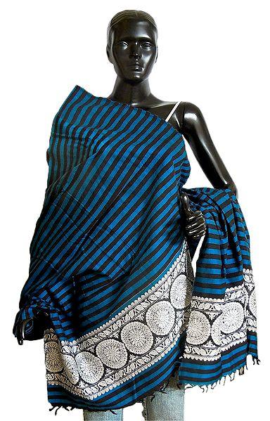 Cyan with Black Stripe Orissa Cotton Stole with Baluchari Design Pallu