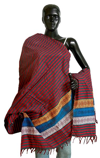 Red with Cyan Stripe Orissa Bomkai Cotton Stole with Weaved Design Pallu