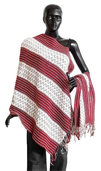 White with Maroon Woolen Stole