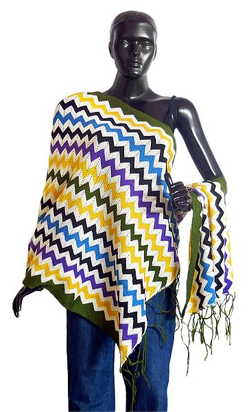Multicolor Woolen Stole with Green Border
