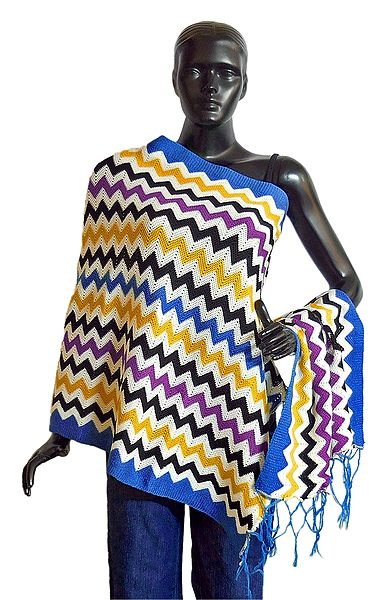 Multicolor Woolen Stole with Blue Border