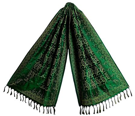 Dark Green Banarasi Tanchoi Stole with Leaf Design