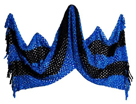 Dark Blue and Black Fancy Silk Thread Stole