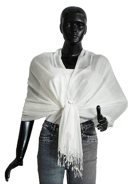 Fine Soft Cotton White Stole