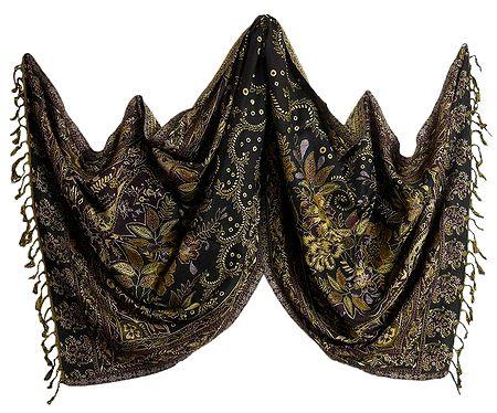 Multicolor Paisley Design on Black Reversible Woolen Stole