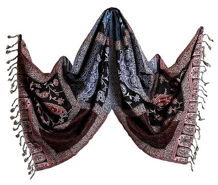 Weaved Paisley Design on Black with Pink Reversible Light Woolen Stole