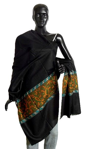 Black Woolen Shawl with Paisley Weaved Design