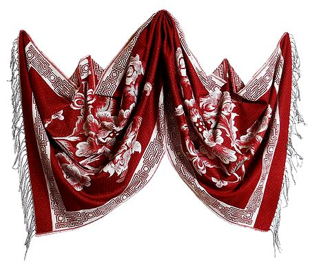 Reversible Red and White Woolen Stole with Weaved Floral Design