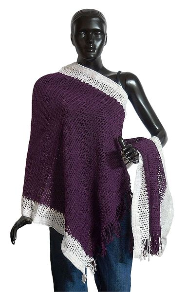 Dark Mauve Woolen Stole with White Border