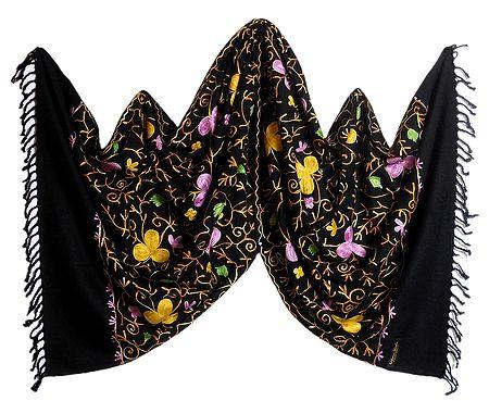 Multicolor Embroidery on Light Woolen Black Stole