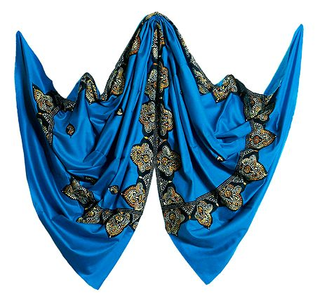 Cyan Blue Woolen Shawl with Embroidered Border